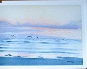 Large Notecard set of 2, Watercolor Print Evening Shore