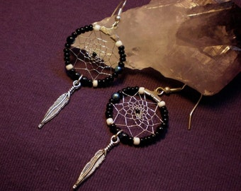 SOLD - Moon Dreams - Dreamcatcher earrings