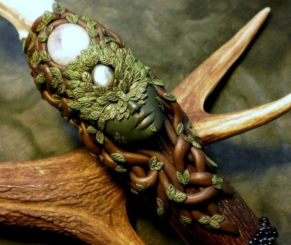 RESERVED Queen of the Magical Forest - Custom made Green Woman wand (Price reduced for final layaway instalment)