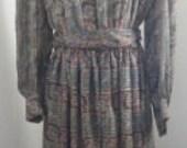 Vintage Leslie Fay Dress Boho Print