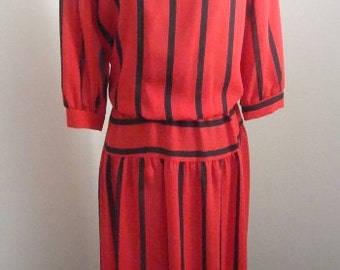 Breli Red Black Striped Vintage Dress