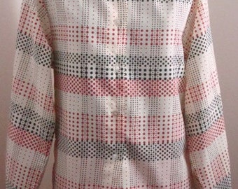 60s Red, White & Blue Blouse w/ Polka Dots-Jack Winter