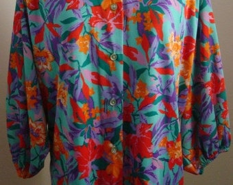 70s Vintage Tropical Resort Blouse by Teddi of California