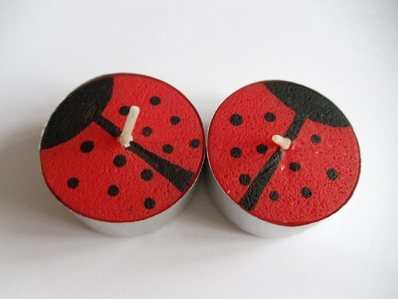 Pair of Decorative Hand-Painted Tea Light Candles - Ladybirds - Red and Black