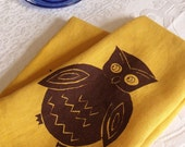Single Linen Dishtowelt- Yellow with Brown Owl. Screen Printed Accessories from Curry Kay Designs on Etsy.