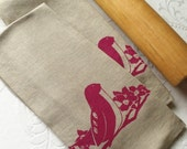 Dish Towel - Grey with Fuchsia Bird (Set of 2). Kitchen Accessories by Curry Kay Designs on Etsy