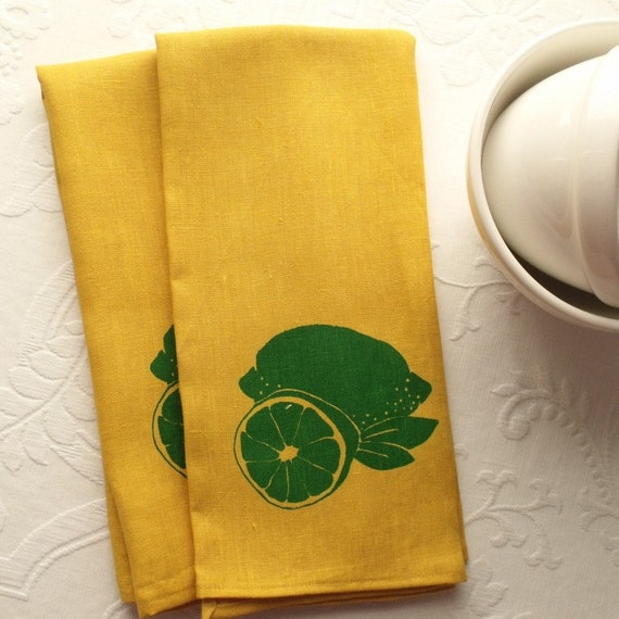 Single Linen Dish Towel- Yellow Linen with Green Lime. Screen Printed Kitchen Accessories from Curry Kay Designs on Etsy
