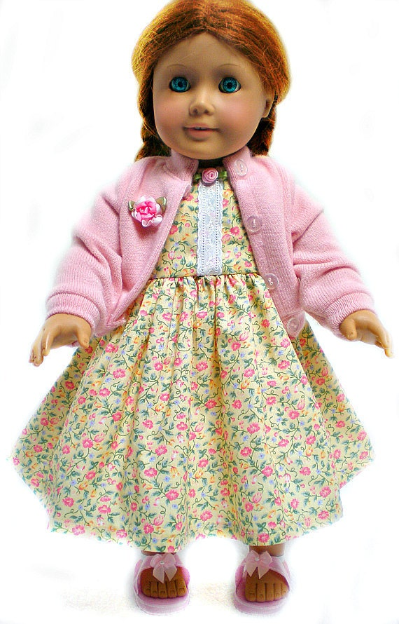 Handmade 18 inch doll clothes fit American Girl Dolls Sun Dress w/ Sweater