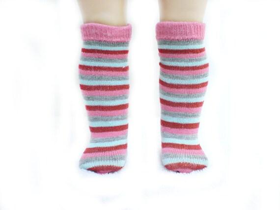 18 inch american girl doll knee socks multi-colored striped