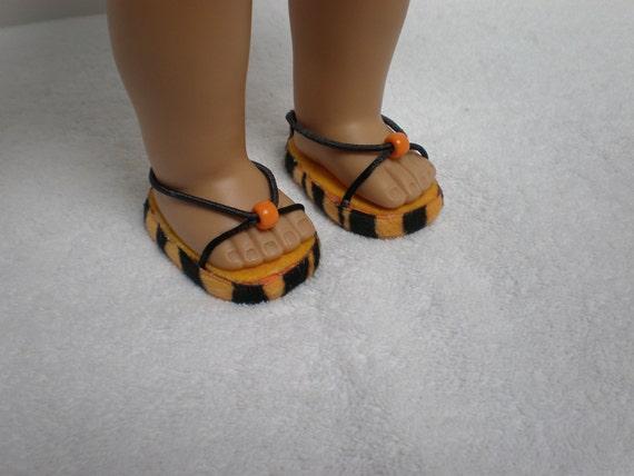 Orange & black striped sandals for 18 inch American Girl doll