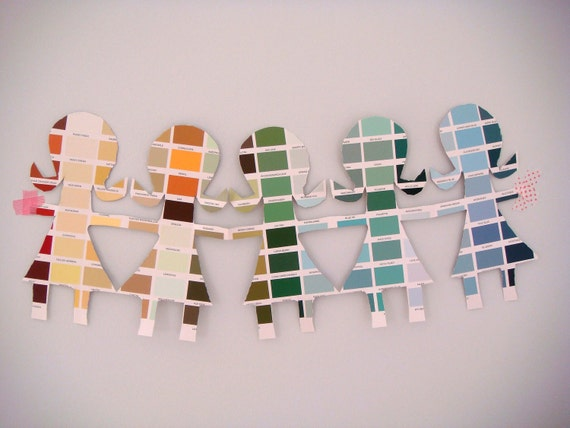 Paint Chip Paper Doll Garland