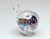 Mix color tinsel blown glass ball silver necklace