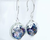 Multi color tinsel glitter flat round blown glass sterling silver earrings