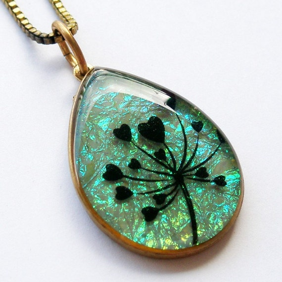 Isabel love tree resin pendant in blue green iridescent