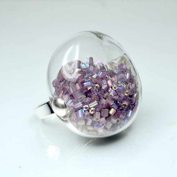Purple seed beads in round blown glass silver tone Ring