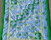 Quilt - Flannel Baby Quilt/ Lap Blanket- Green Frog and Turtle - Hand Made