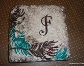 Drink Coaster -Blue / Teal and Brown Feather Tiles - Set of 4 tile coasters