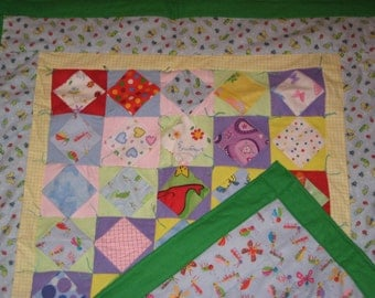 Quilt - Flannel Baby Quilts / Lap Quilt - Hand Made - One of a Kind - GREEN BUGS