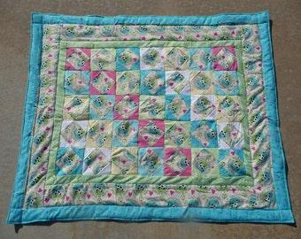 Quilt - Flannel Baby Quilt - Old McDonald Farm with Cows.  Green backing blanket  * birthday gifts for her ** Gift for Mothers Day