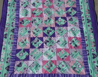 Quilt - Flannel Baby Quilt / Lap Quilt - Hand Made - Butterflies and Posies