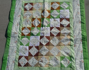 Quilt - Flannel Baby Quilt / Lap Quilt - Hand Made - Monkeys and Leaves with green border Blanket * Gifts for Mom * birthday gifts for her