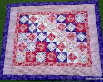 Quilt - Flannel Baby Quilt / Lap Blanket - Pink Purple - I love Mommy and Daddy - w Hearts - Purple Butterfly backing