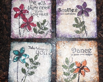 Tile Coaster - Live Well Laugh Often Love Much Tile - Set of 4 coasters - Dance and Smile * Gifts for Girlfriend * Wedding Gift