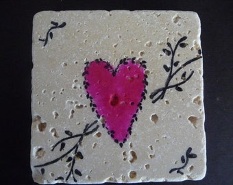 Drink Coaster - Pink Heart Love Tiles - Set of 4 tile coasters