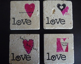 Drink Coaster - Pink Love Tiles - Set of 4 tile coasters