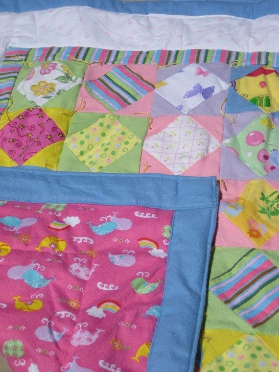 Quilt - Baby Quilts Flannel / Lap Blanket - Hand Made - PINK WHALES / OCEAN  * birthday gifts for her