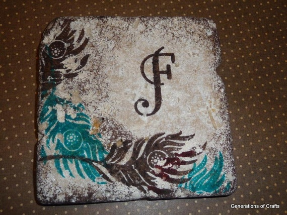 Drink Coaster -Blue / Teal and Brown Feather Tiles - Set of 4 tile coasters * Gifts for Girlfriend * Wedding Gift * Gifts for Mom