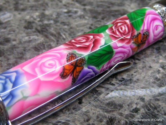 Pen - Polymer Clay in Black and Chrome - Flower Pens  * Birthday gifts * Birthday Present * Gifts for Mom * Gifts for her