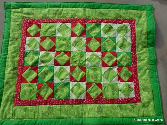 Quilt - Flannel Baby Quilts / Lap Blanket - Kermit the Frog - Sesame Street - Hand Made
