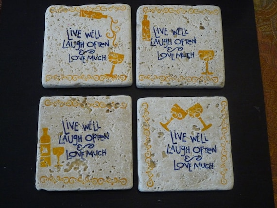 Drink Tile Coasters - CHEERS - Live Laugh Love Wine Tiles - Set of 4 Coaster Tile