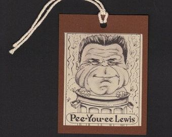 HUEY Lewis Caricature Bookmark or GIFT TAG