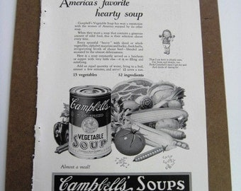 1927 CAMPBELL'S  VEGETABLE SOUP - Vintage  Advertisement, Black and White
