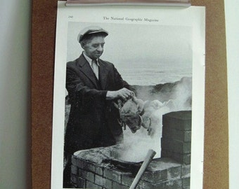 Vintage 1941 PHOTO - Man Cooking CRAB in Steaming Pot - Black and White