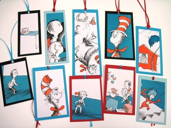 CAT in the HAT - Dr. Seuss Recycled BOOKMARKS-  - Set of 10