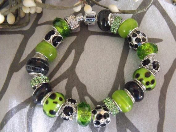 Pandora Style Bracelet 842 - Black and Green