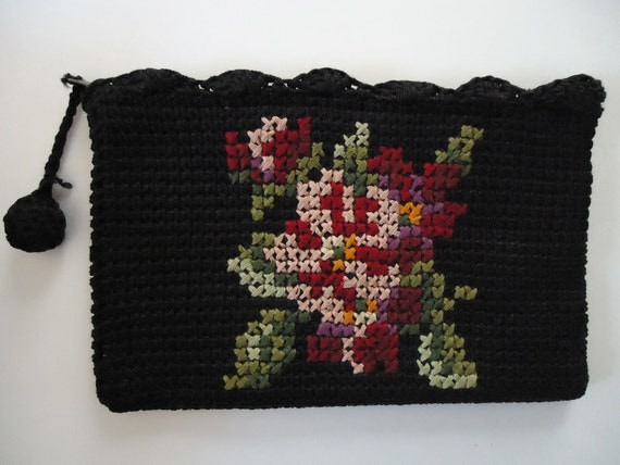 RESERVED - Vintage Needlepoint Cosmetic Bag or Small Purse with Floral Lining