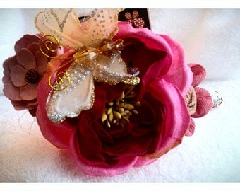 One of Kind headband with flowers and butterfly,so romantic.