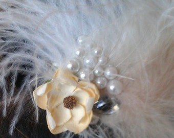 Glamour Fascinator white feathers with flower and pearl.Wedding,brides headpiece italian style.