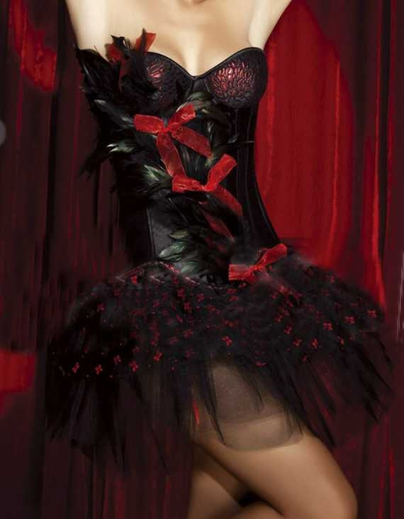 Free Shipping Happy Valentine day black and red corset.Free Shipping .
