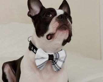Black White and Blue Plaid Dog Bow Tie