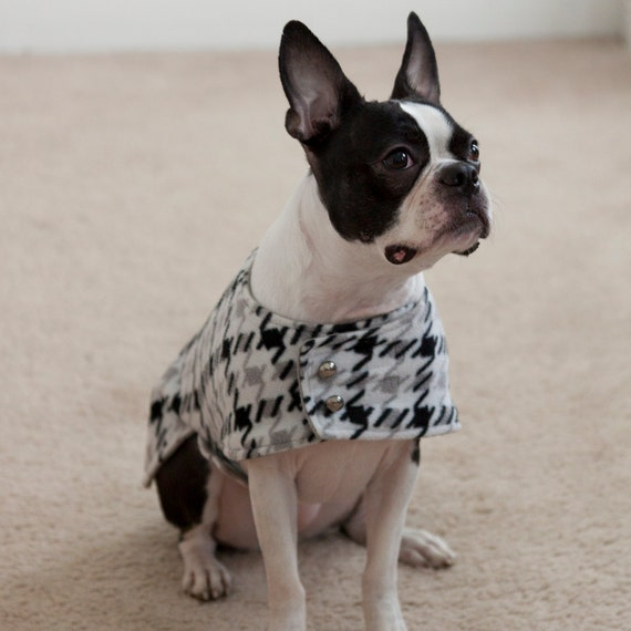 Houndstooth Dog Coat Black, White and Gray