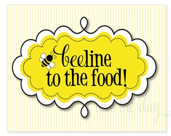 PRINTABLE Party Sign - Bumble Bee Birthday Party (INSTANT DOWNLOAD) by Love The Day