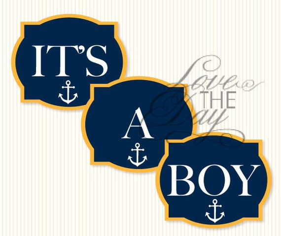 Nautical Baby Shower PRINTABLE Party Yard Signs (INSTANT DOWNLOAD)  by Love The Day