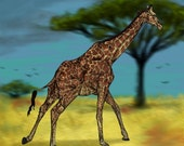Giraffe Abstract Animal Giclee Archival Art Print
