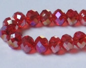8 x 6 mm Red AB Faceted Glass Rondelle (Qty 30)  90-6-166