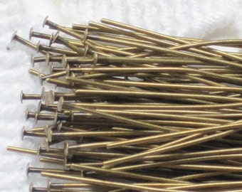 2 inch Antiqued Gold Finish Headpins (Qty 100)  75-1-101